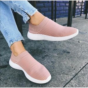 Light weight fly knit slip on sneaker
